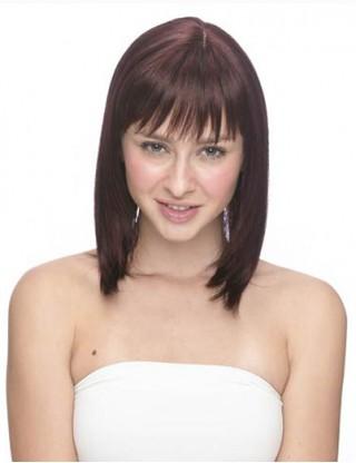 Pretty Sharon 全假髮 沙宣中長直髮 碎劉海時尚修臉jiafa 女整頂假髮套 SRN-1017