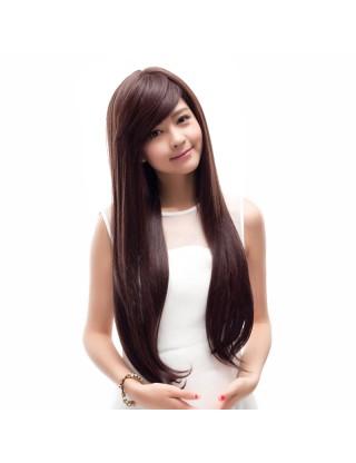 Ebine 全假髮 品牌假髮女超長直髮逼真自然斜劉海超長可愛高溫絲直髮EW602