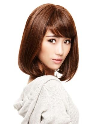 Wigs2you 全假髮中長直髮女 內卷波波梨花頭假髮 高溫絲齊劉海W-598